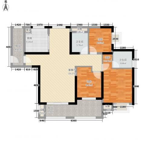 华强城公园1号3室1厅2卫1厨107.00㎡户型图