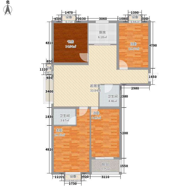 万浩家园二期166.27㎡2号楼C户型4室2厅2卫1厨