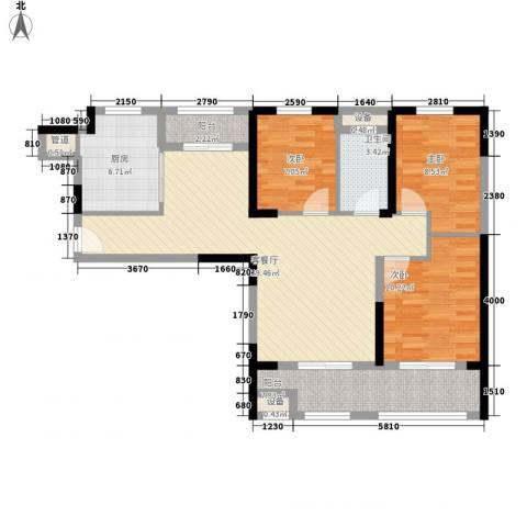 华强城公园1号3室1厅1卫1厨90.00㎡户型图