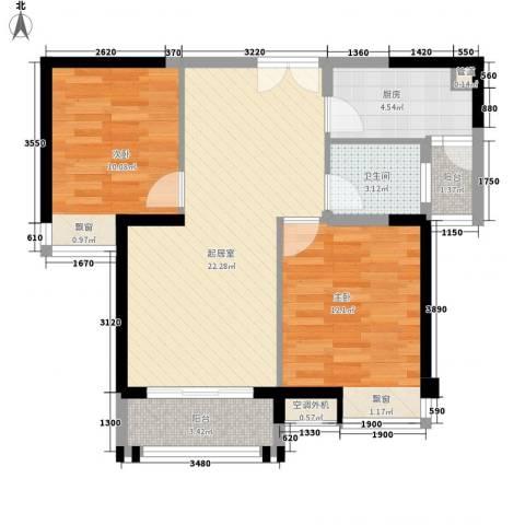 五洲国际广场2室0厅1卫1厨82.00㎡户型图