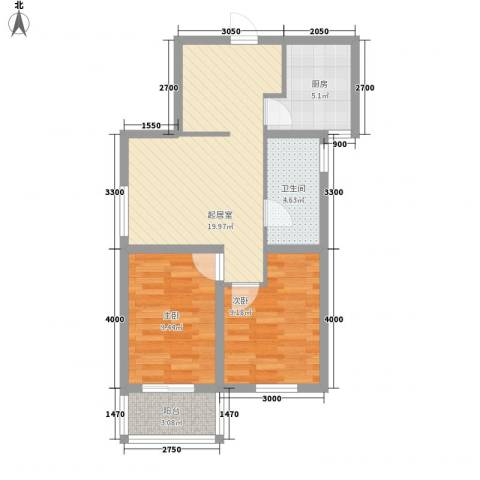 御景名门2室0厅1卫1厨76.00㎡户型图