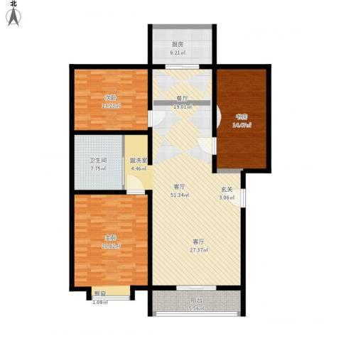 大唐花园3室1厅1卫1厨168.00㎡户型图