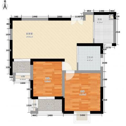 绿地国际花都2室0厅1卫1厨57.89㎡户型图