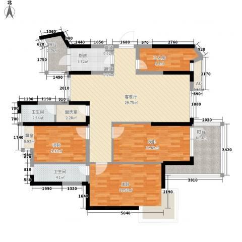 翰林雅居3室1厅2卫1厨137.00㎡户型图