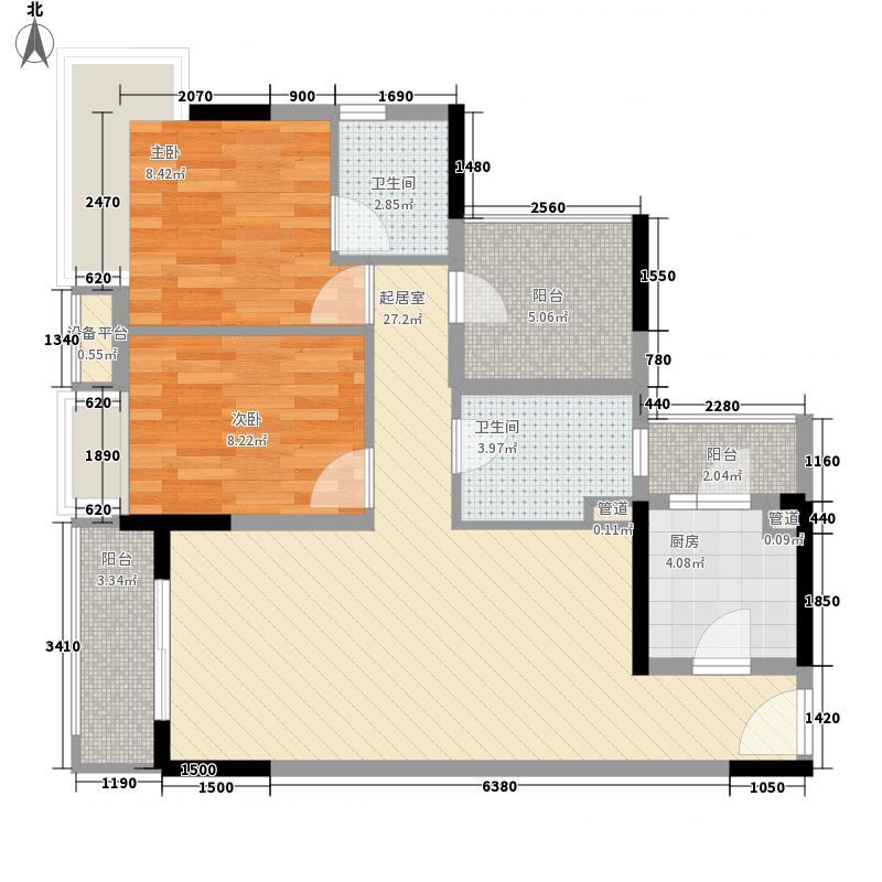 金地龙城中央88.25㎡1栋A/B座06户型2室2厅2卫1厨