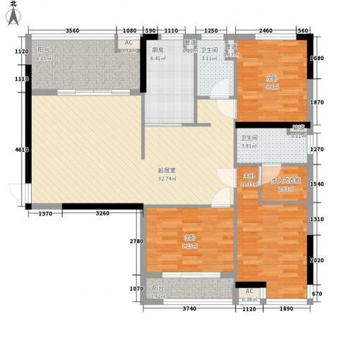 飞晟文汇广场3室0厅2卫1厨130.00㎡户型图