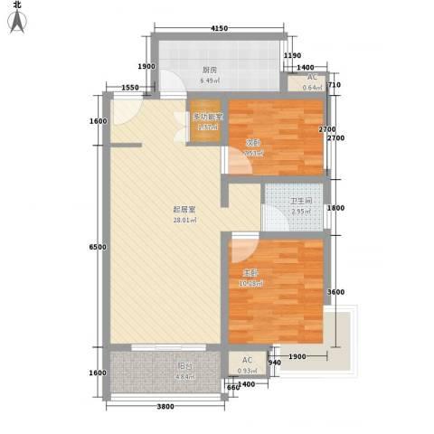 锦尚名城2室0厅1卫1厨92.00㎡户型图