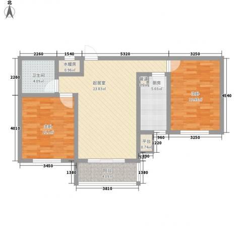 水语青城2室0厅1卫1厨93.00㎡户型图