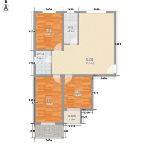 东泽园3室0厅1卫1厨118.00㎡户型图