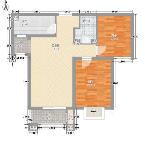众美凤凰绿都2室0厅1卫1厨62.50㎡户型图