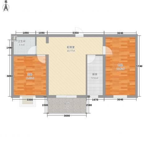 水语青城2室0厅1卫1厨91.00㎡户型图