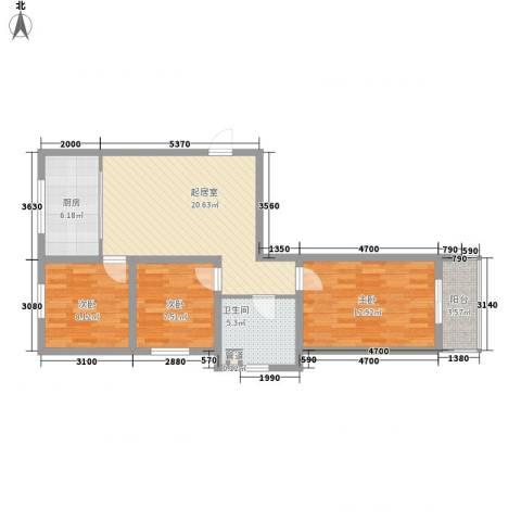 水语青城3室0厅1卫1厨91.00㎡户型图