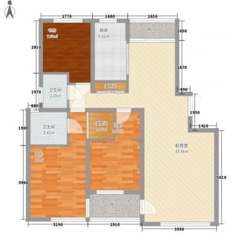 大唐花苑3室0厅2卫1厨118.00㎡户型图