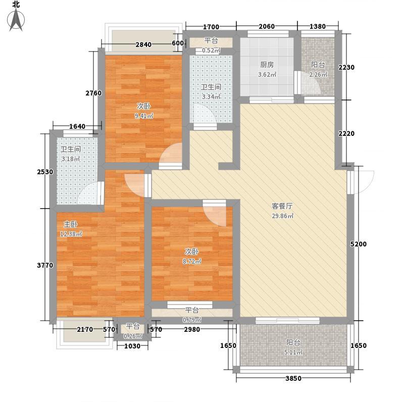翰林城114.50㎡11层小高层G1户型3室2厅2卫1厨