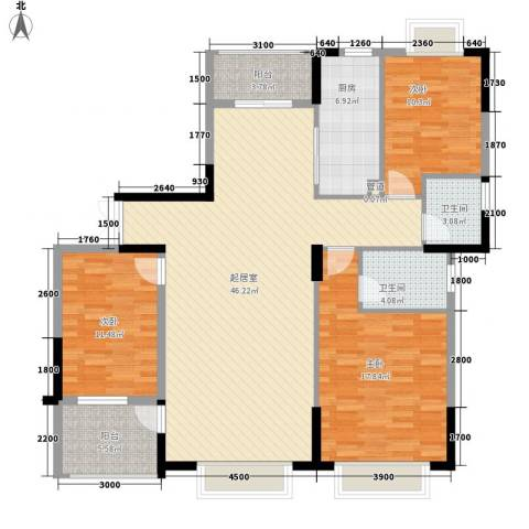 康源绿洲康城3室0厅2卫1厨143.00㎡户型图