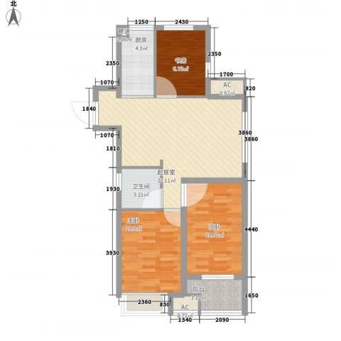 万科金色里程3室0厅1卫1厨90.00㎡户型图