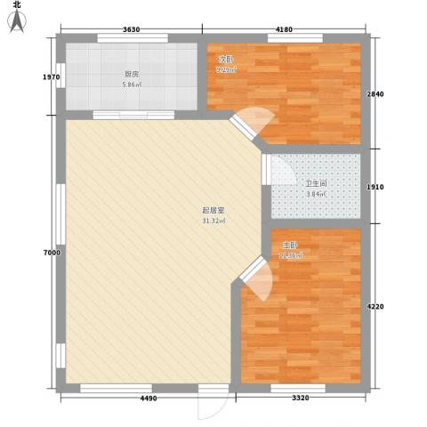 天建南苑旅游度假村2室0厅1卫1厨87.00㎡户型图