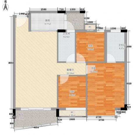 碧湖花园别墅3室1厅2卫1厨120.00㎡户型图