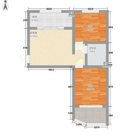 天建南苑旅游度假村2室0厅1卫1厨75.00㎡户型图