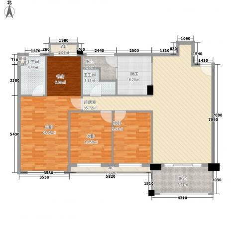 南沙碧桂园别墅3室0厅2卫1厨152.00㎡户型图