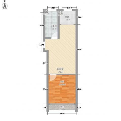 碧海桃园1室0厅1卫1厨55.00㎡户型图