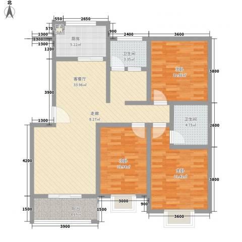 河畔春天3室1厅2卫1厨179.00㎡户型图