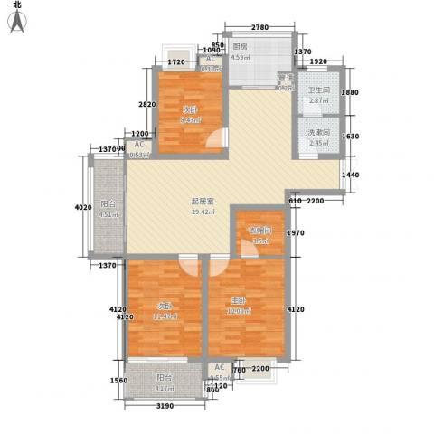 东郡华庭3室0厅1卫1厨124.00㎡户型图