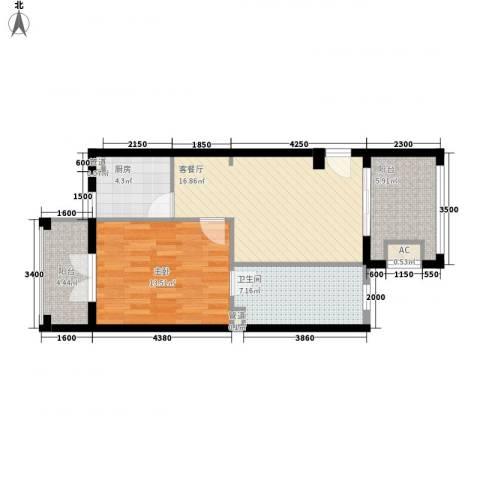 圣芭芭拉1室1厅1卫1厨76.00㎡户型图