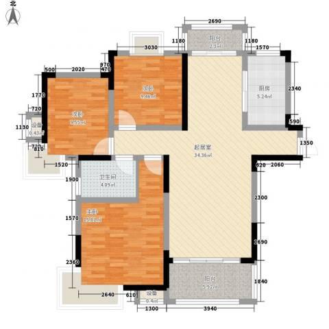 绿地国际花都3室0厅1卫1厨114.00㎡户型图