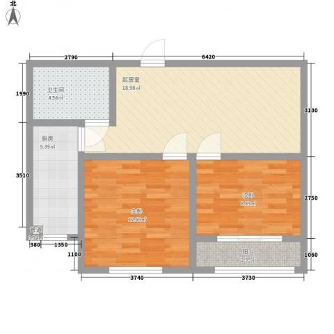 瑞和园2室0厅1卫1厨78.00㎡户型图
