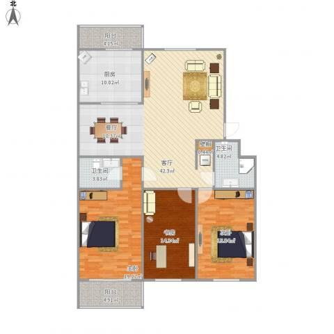 铁路南苑3室1厅2卫1厨161.00㎡户型图