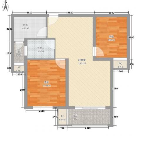 东郡华庭2室0厅1卫1厨61.52㎡户型图
