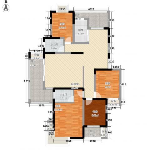 绿地国际花都4室0厅2卫1厨166.00㎡户型图