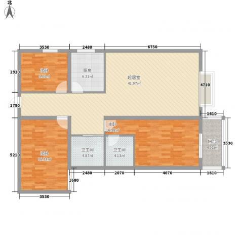 龙洲新城3室0厅2卫1厨146.00㎡户型图