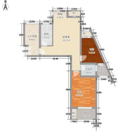东郡华庭2室0厅1卫1厨65.80㎡户型图
