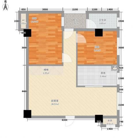 七仙河畔2室0厅1卫1厨69.00㎡户型图