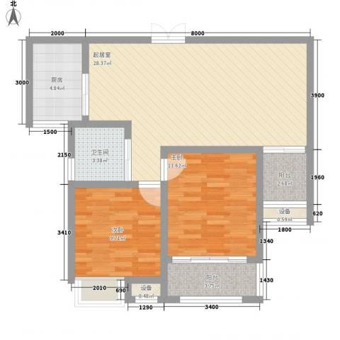 绿地国际花都2室0厅1卫1厨86.00㎡户型图