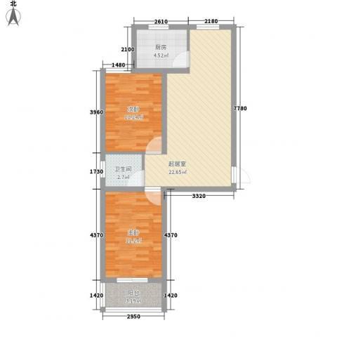 御景名门2室0厅1卫1厨78.00㎡户型图