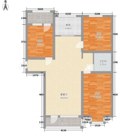 金茂城市花园3室1厅1卫1厨127.00㎡户型图