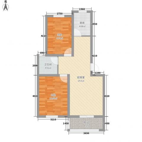 御景名门2室0厅1卫1厨84.00㎡户型图