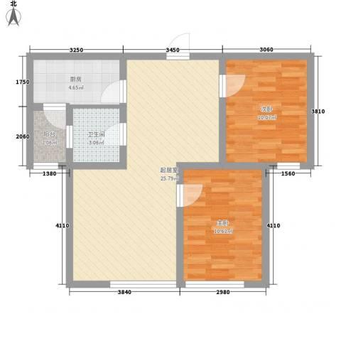 御景名门2室0厅1卫1厨82.00㎡户型图