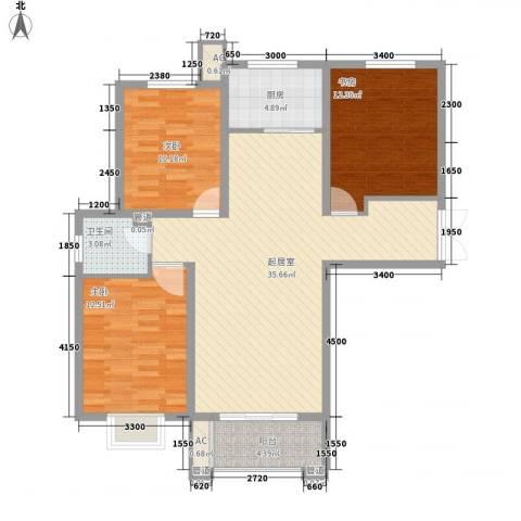 众美凤凰绿都3室0厅1卫1厨116.00㎡户型图
