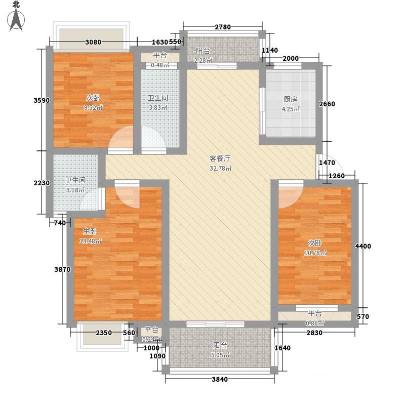 翰林城125.00㎡小高层A户型3室2厅2卫1厨