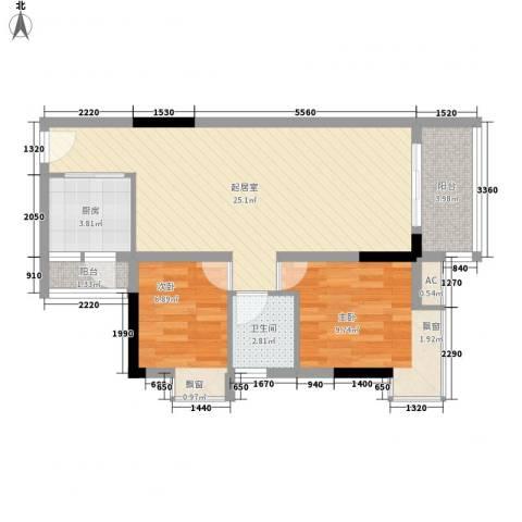 汇泰锦城2室0厅1卫1厨78.00㎡户型图