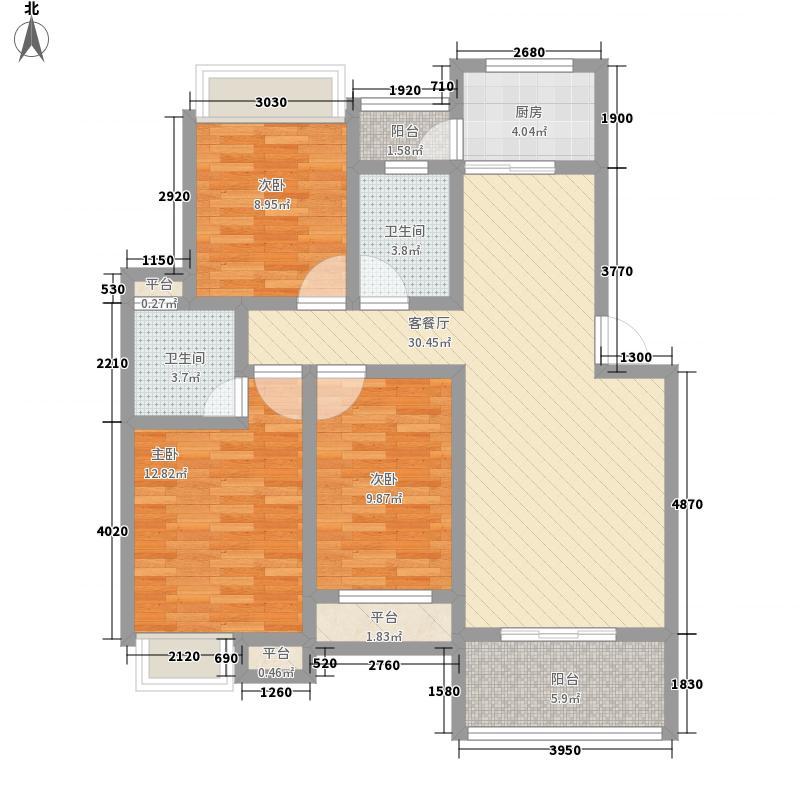 翰林城12.00㎡小高层C户型3室2厅2卫1厨