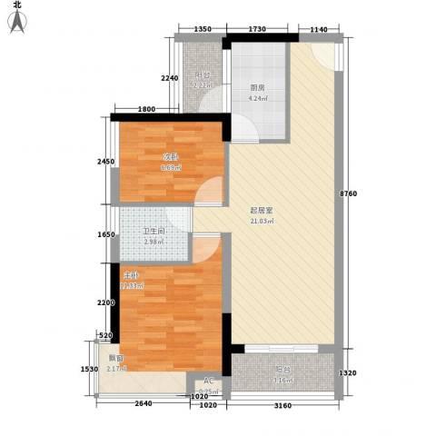 汇泰锦城2室0厅1卫1厨75.00㎡户型图