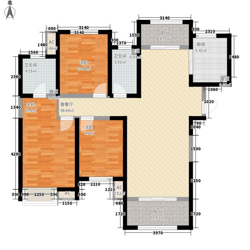 阳光城西咸壹号14.00㎡高层C户型3室2厅2卫1厨