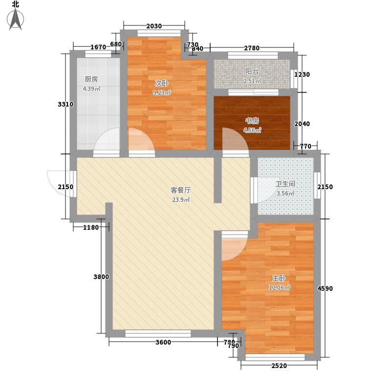 荣盛馨河郦舍88.87㎡6、16#A户型3室2厅1卫1厨