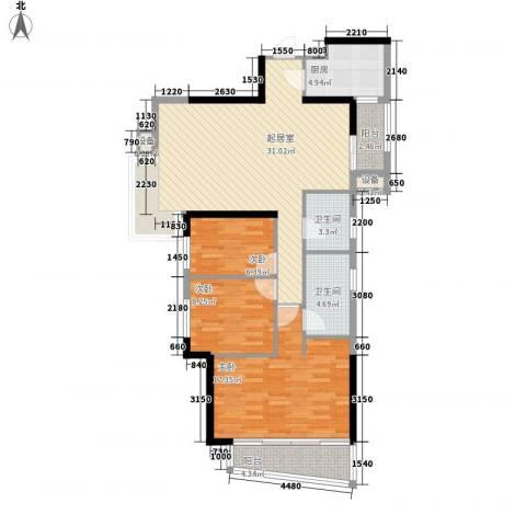 万科金色家园二期3室0厅2卫1厨119.00㎡户型图