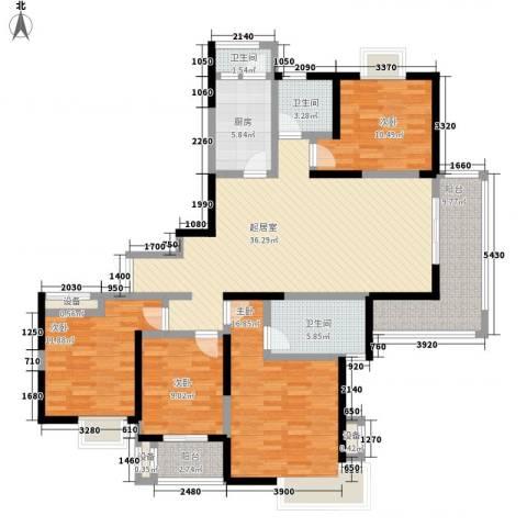 绿地国际花都4室0厅3卫1厨155.00㎡户型图
